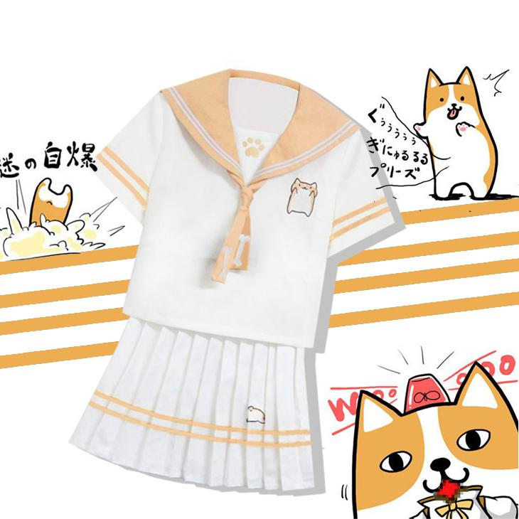 Japanese Kawaii Doge School Uniform T-shirt/Skirt KW1710012 - kawaiimoristore