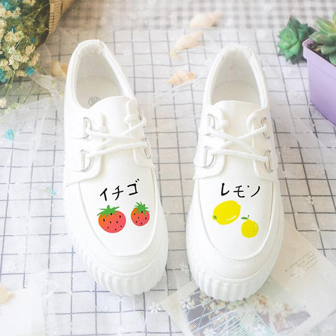 Japanese Kawaii Fruit Hand-painted Canvas Shoes KW1711502