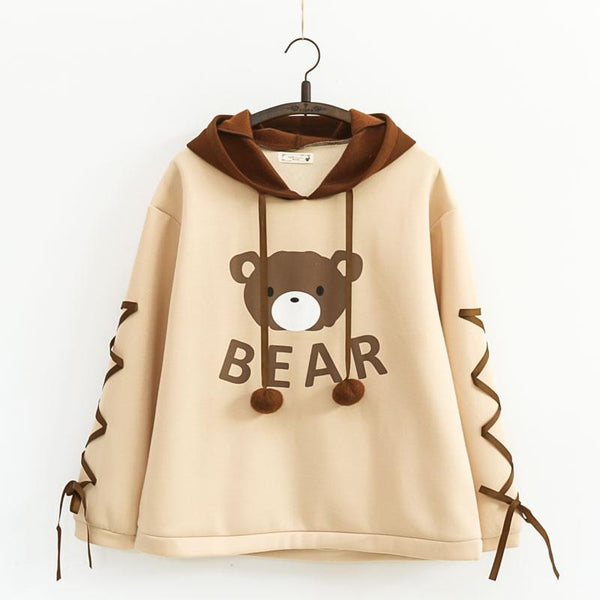 Kawaii Bear Ribbon Bow Hoodie Jumper KW1811602