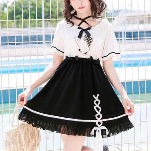 Kawaii Bunny Poker Laced Dress K13576
