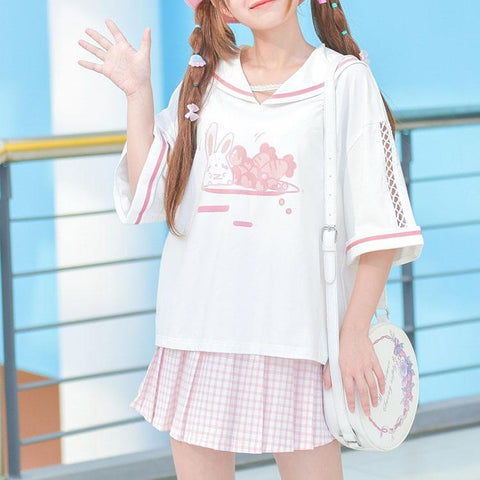 Kawaii Bunny Printed Sailor Loose Sleeve T-shirt