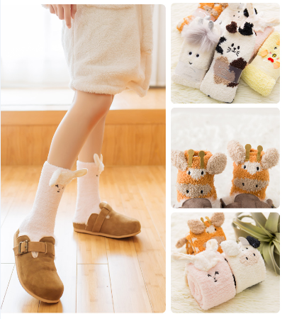 Kawaii Cartoon Coral Wool Socks KW1711192