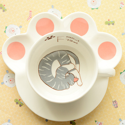 Kawaii Cat Ceramic Teacup With Cat Paw Dish Set KW167639 - kawaiimoristore