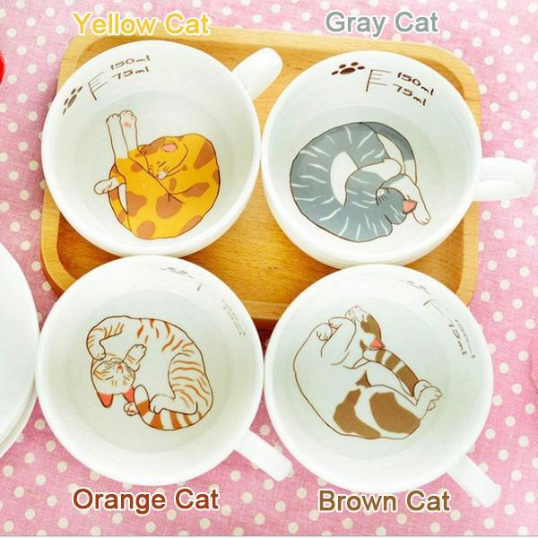 Kawaii Cat Ceramic Teacup With Cat Paw Dish Set KW167639