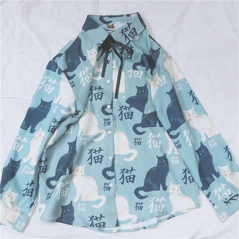 Kawaii Cat Printing Blouse K13683