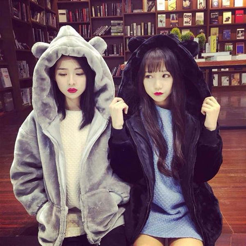 Kawaii Fluffy Bear Ear Hoodie Coat KW1710725