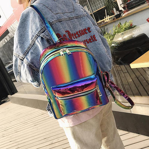 Kawaii Hologram Rainbow Backpack K14035