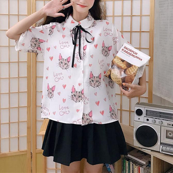Kawaii Love Cats Blouse K13753