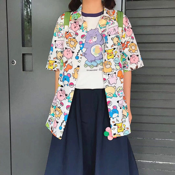 Kawaii Pokemon Printing Blouse/Shirt K13993