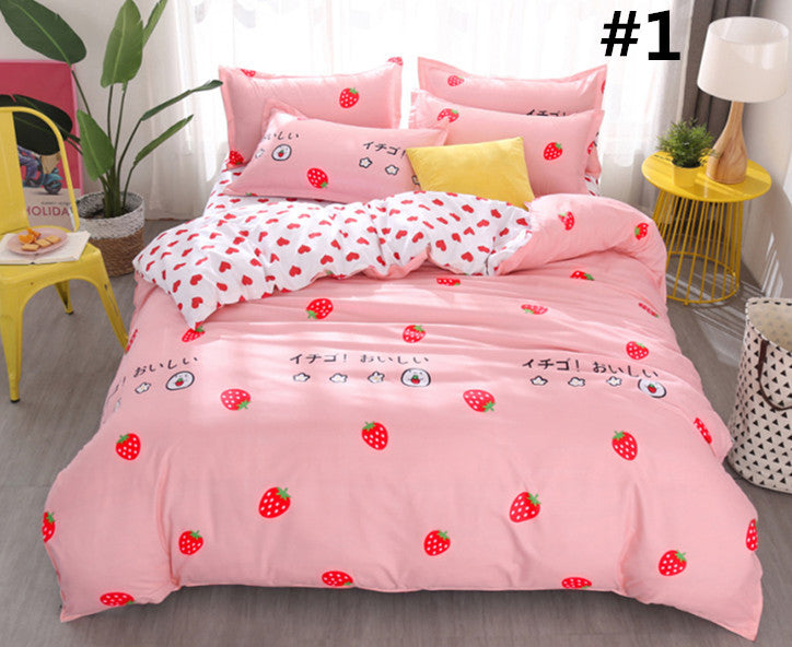 Kawaii Strawberry/Sweet Heart Bedding Sheet Set K13044