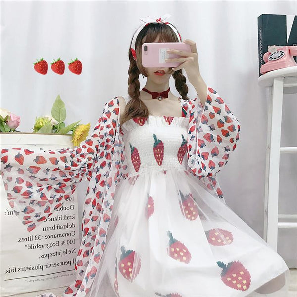 Kawaii Strawberry Suspender Dress K13816