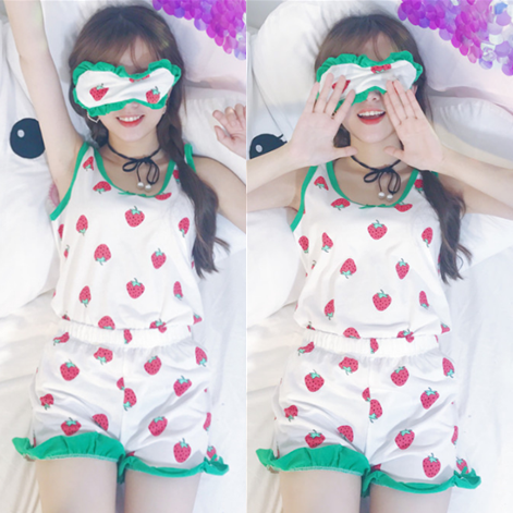 Kawaii Strawberry Condole Belt Pajamas Suits + Eye mask