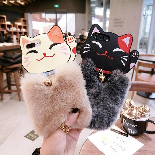 Khaki/Black Fluffy Lucky Kitty Phone Case KW1711434