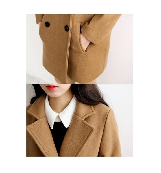 Khaki/Black Sweet Preppy Style Woolen Coat KW1710938