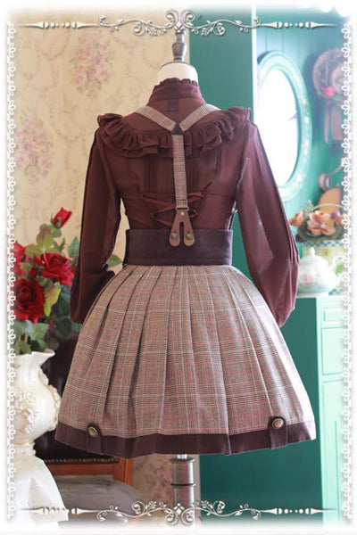 Khaki Punk Ouji fashion Lolita Suspender Skirt K12794
