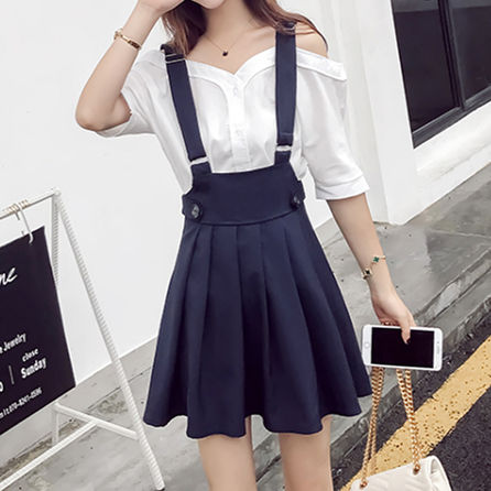Korea Fashion Students Braces Pleated Skirt KW179888