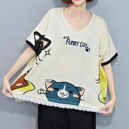 Korean Brief O Neck Lovely Cat Pattern T Shirt - kawaiimoristore