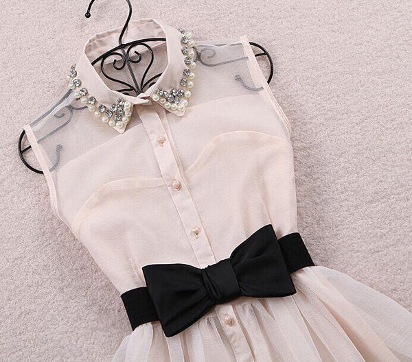 Korean Lace Sleeveless Bow Dress KW1812443