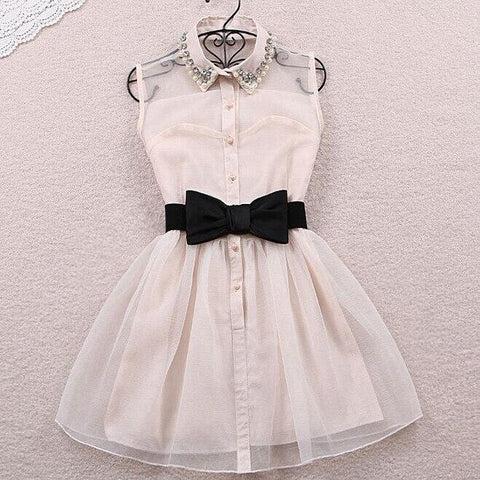 Korean Lace Sleeveless Bow Dress