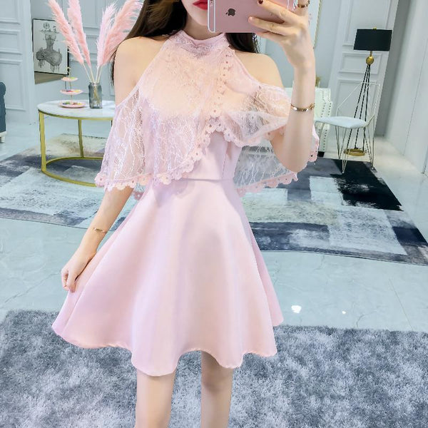 Korean Summer Lace Sleeve Slim Dress