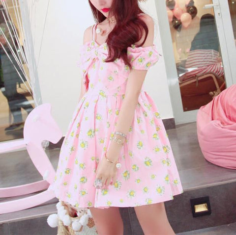 Korean Summer Pink Daisy Bow Strap Dress