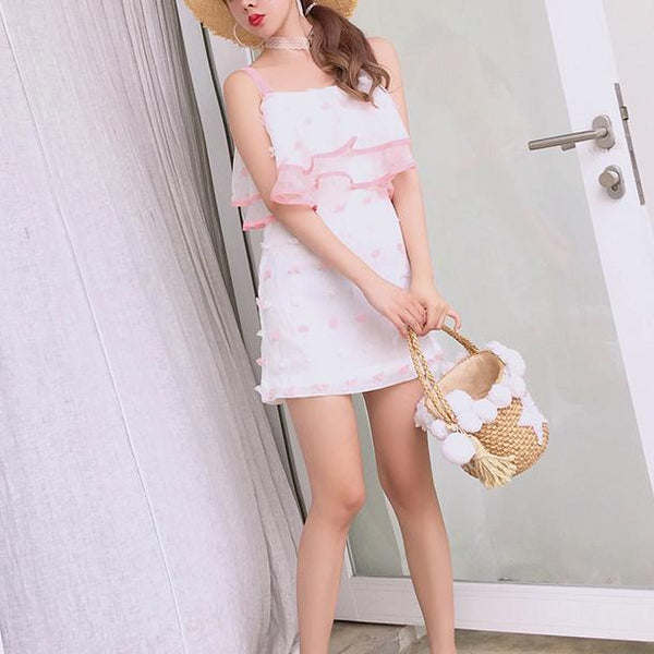 Korean Summer White Thin Chiffon Strap Shoulder-less Dress