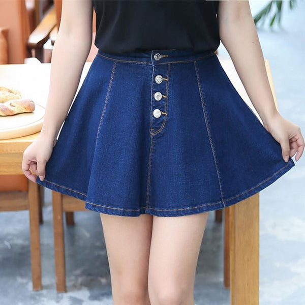 Korean Blue Denim Button Skirt