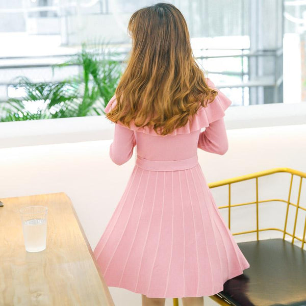 Korean Sweet Pink Striped Pleated Dress