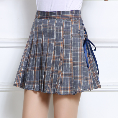 L-4XL Pink/Grey Grid Pleated Skirt