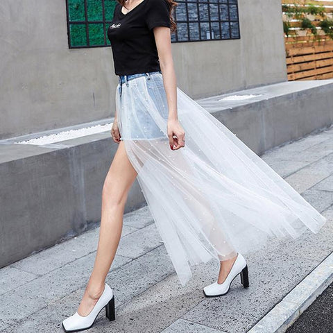 Light Blue/Black/White Fairy Tulle Denim Shorts/Skirt K13595