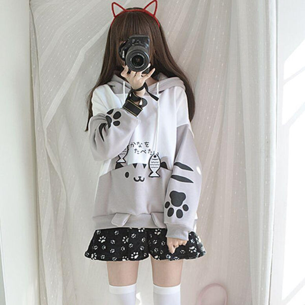 Light Grey Cat And Fish Hoodie KW1711494