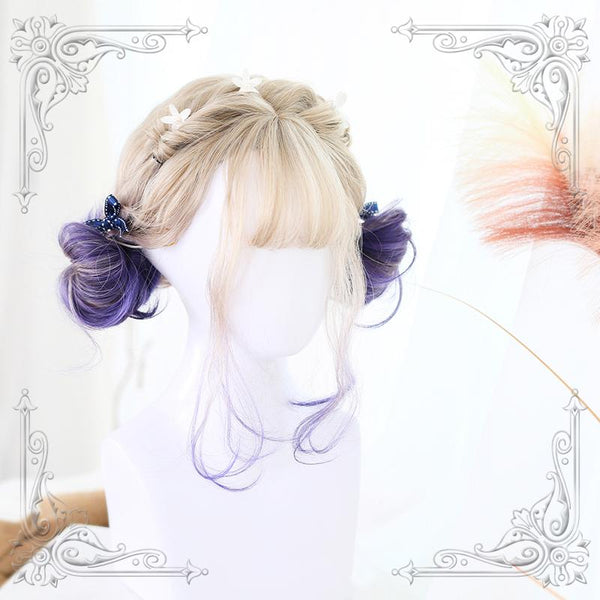 Lolita Cute Blond Purple Short Wig KW1710805