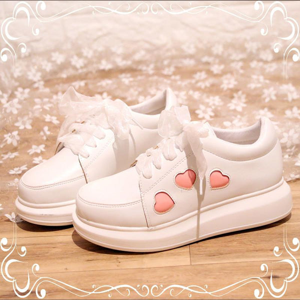 Lolita White Heart Lace Platform Shoes