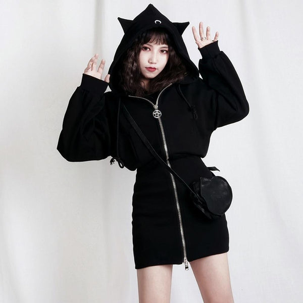 Black Moon Ears Hoodie Dress