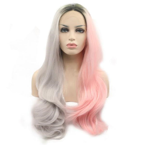 Long Half Grey Half Pink Wavy Synthetic Lace Front Wig