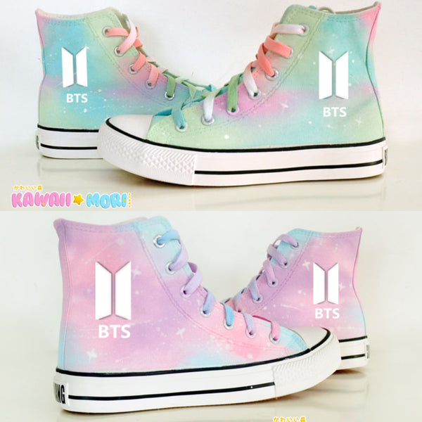 Mint Green/Pink Harajuku Galaxy BTS Canvas Shoes K12644