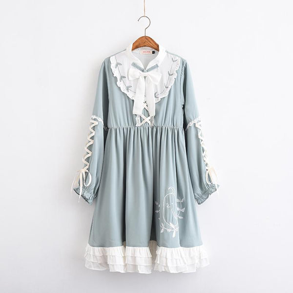 Mint Green Falbala Lace Long Sleeve Dress K13190