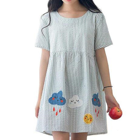 Mori Girl Cartoon Clouds Patch Embroidered Vertical Striped Dress KW1710110