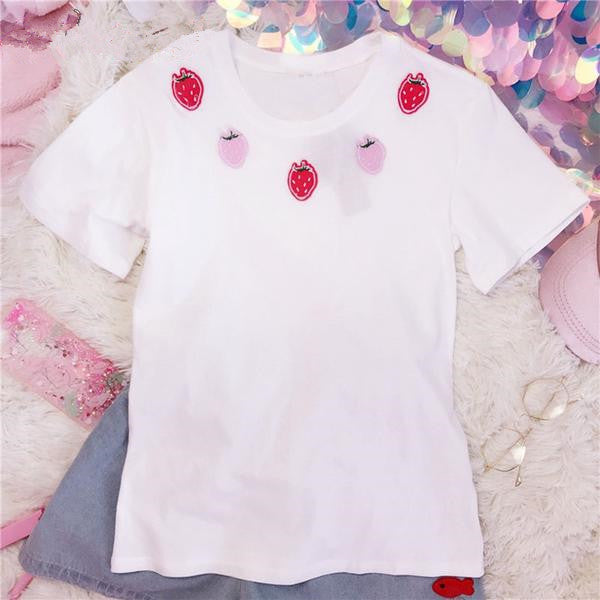 Mori Girl Kawaii Strawberry  Cotton Top