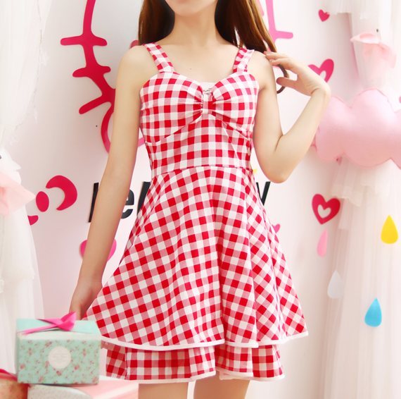 Sweet Red Grid Dress - kawaiimoristore