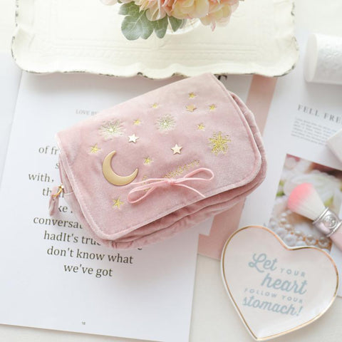 Navy/Pink Embroidered Moon Stars Cosmetic Bag