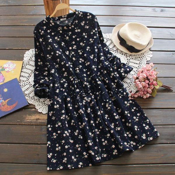 Navy blue/Red Sweet Floral Dress KW1711313