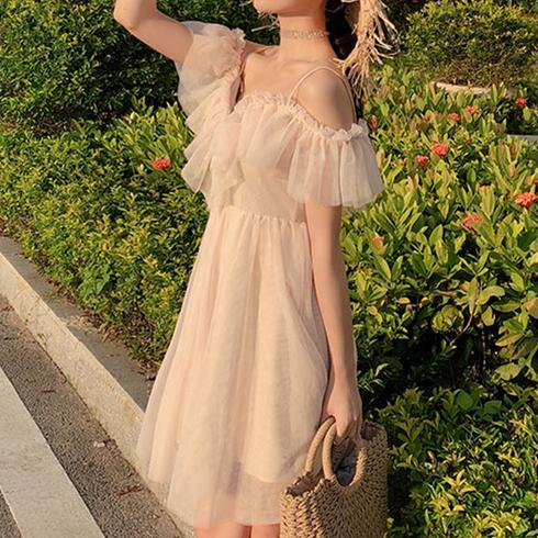 {Normal Version} Beige Falbala Laced Tulle Dress K13585