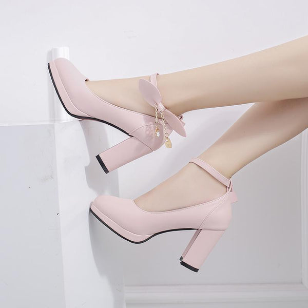 Pink/White/Black Lolita Bow High Heels Sandals Shoes K14160