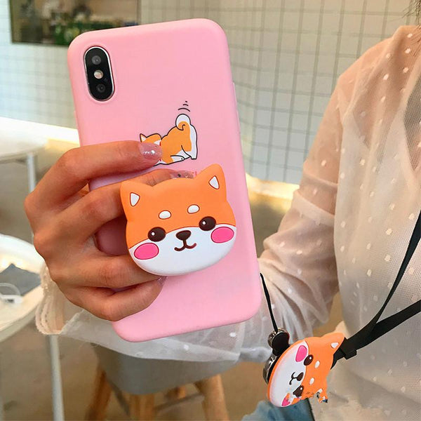 Blue/Pink Kawaii Corgi Dog Phone Case