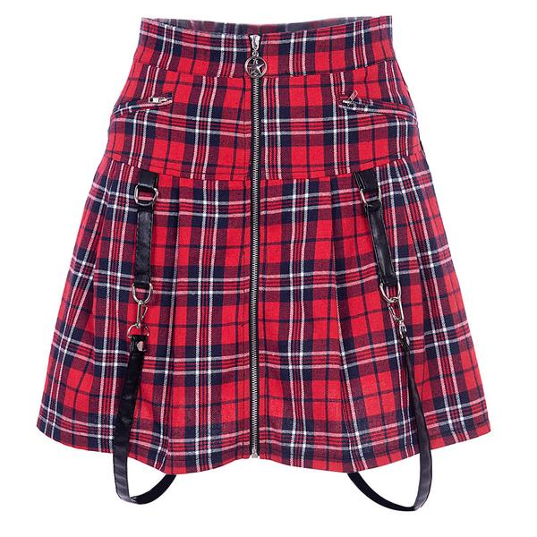 Red Plaid Harajuku Punk Rock Gothic Skirt K13002