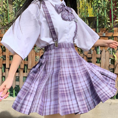 [Grape Soda] High Waist Pleated Skirts JK School Uniform K15490 - kawaiimoristore