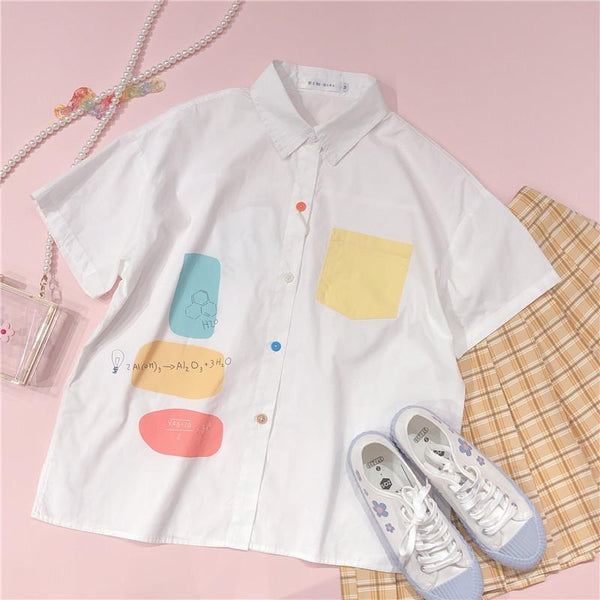 Sweet Blend Color Pocket Preppy Style Short Sleeve Shirt K15455 - kawaiimoristore
