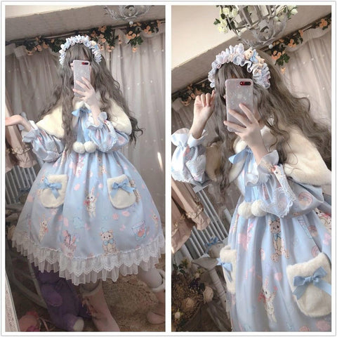 Lolita Bunny Bear Donut Long Sleeve Dress K15400 - kawaiimoristore