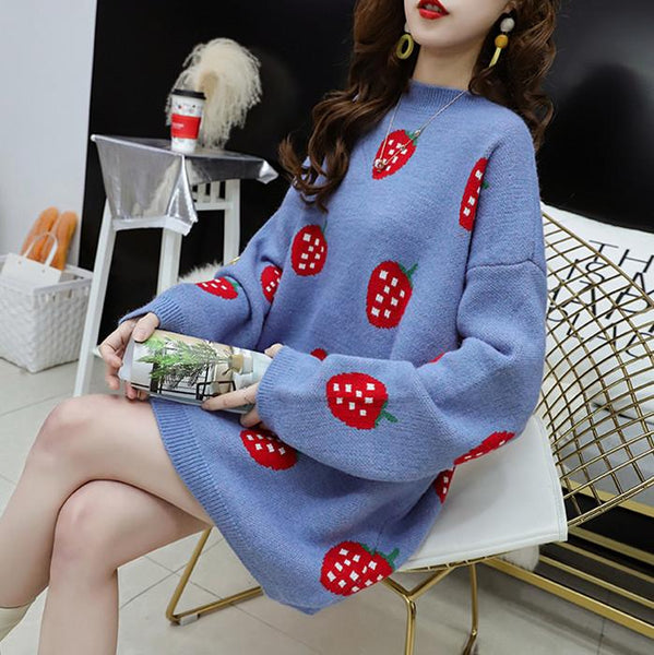 White/Blue/Black Kawaii Strawberry Sweater